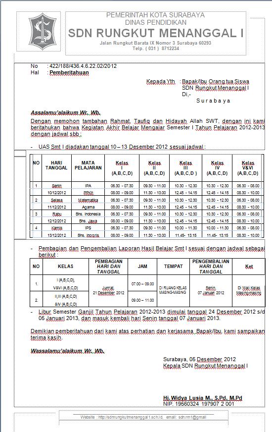Pemberitahuan UAS I dan Libur Semester I Tahun Pelajaran 2012-2013
