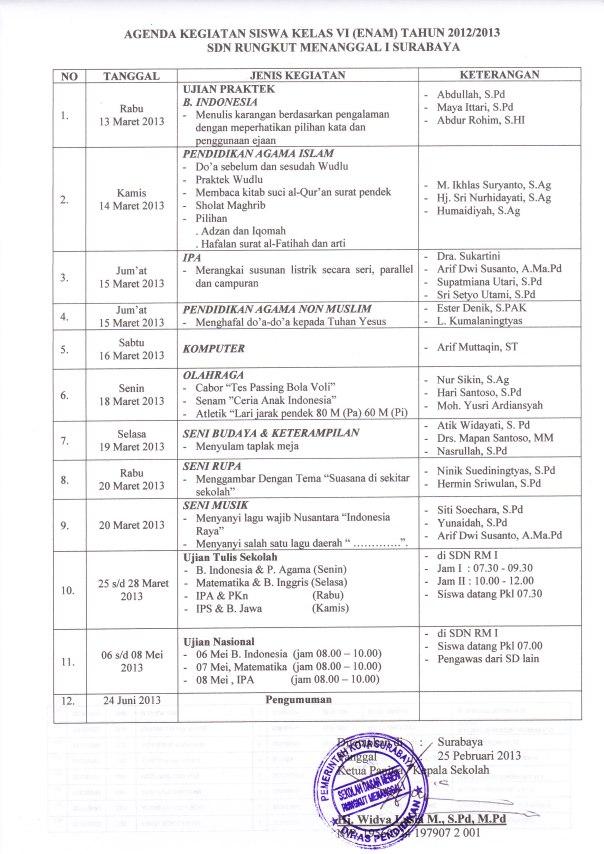 Agenda Kegiatan Kelas VI